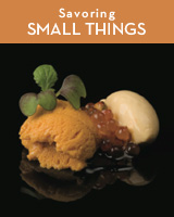 Small Things Savory - santa barbara sea urchin ice cream with trout roe and aged solera vinegar